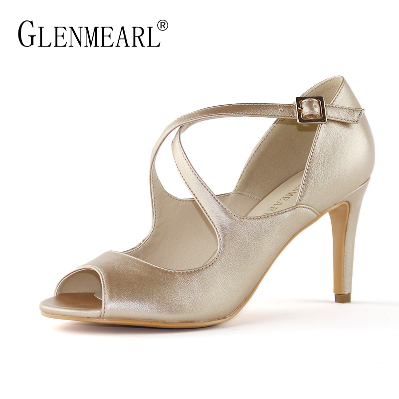 Brand Women Pumps High Heels Shoes Peep Toe Ankle Strap Shoes Woman Spring Gold Thin Heels Mary janes Wedding Shoes Plus SizeDE
