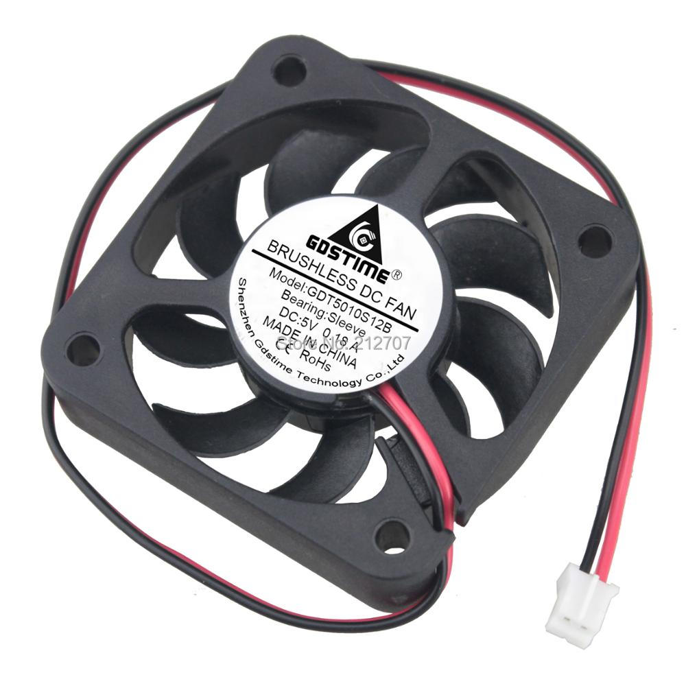 Cooling Fan Fans 20PCS  2Pin DC 5 volt 50X50X10mm 50mm 5cm 5010 9 Blades