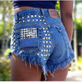 2017 Women's Shorts Jeans Fashion Brand Vintage Tassel Rivet Ripped Loose High Waist Short Jeans Punk Sexy Hot Denim Shorts Pant