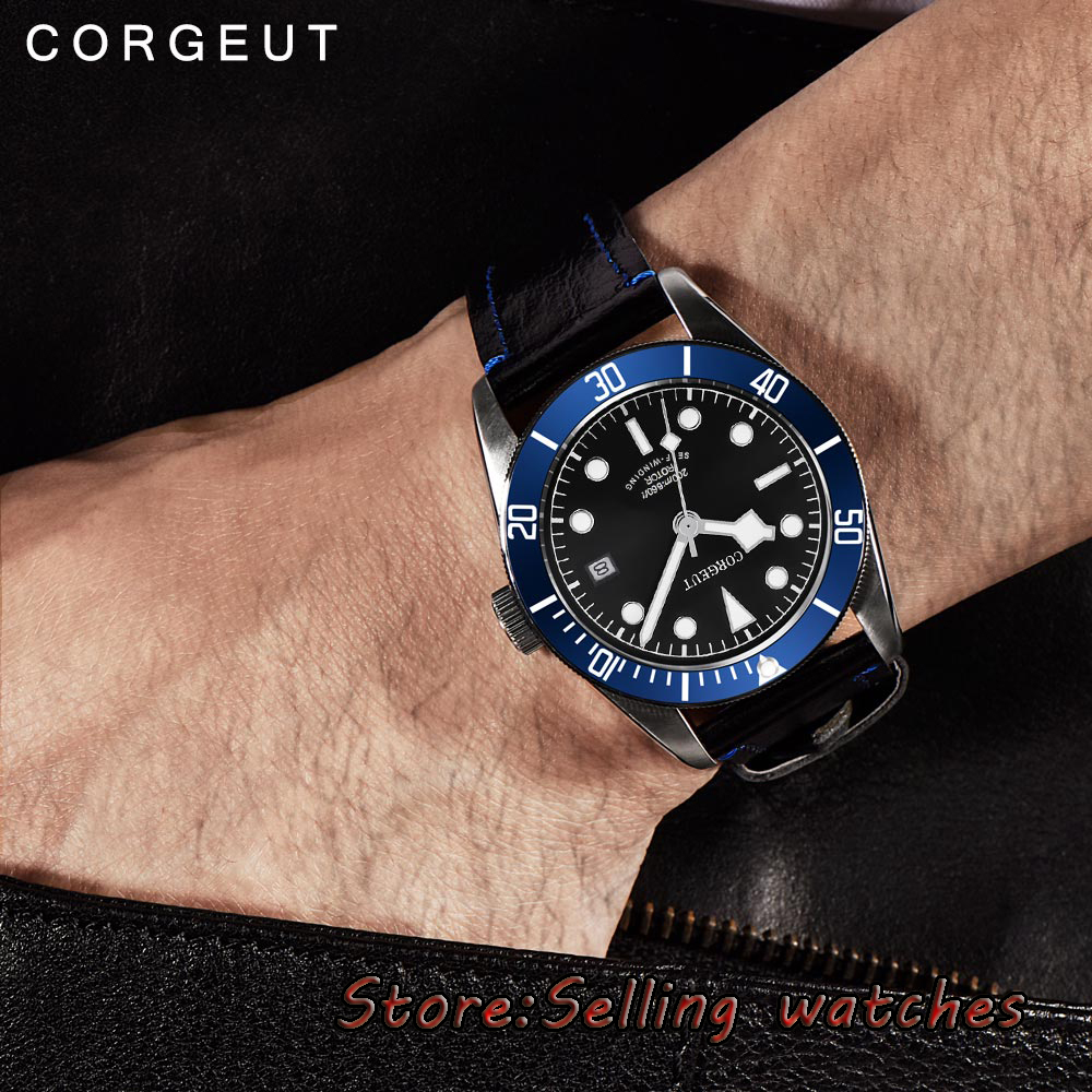 41mm corgeut black dial sapphire Glass miyota 8215 Automatic diving mens watch 41mm corgeut black dial sapphire glass 21 jewels miyota automatic diving mens watch