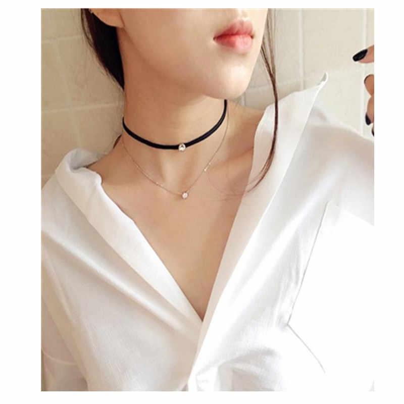 Elegante Lange Mode Schwarz Braun Lederband Kupfer Rohr Kette Schmuck Zubehör Halskette Choker Halskette Frauen x169