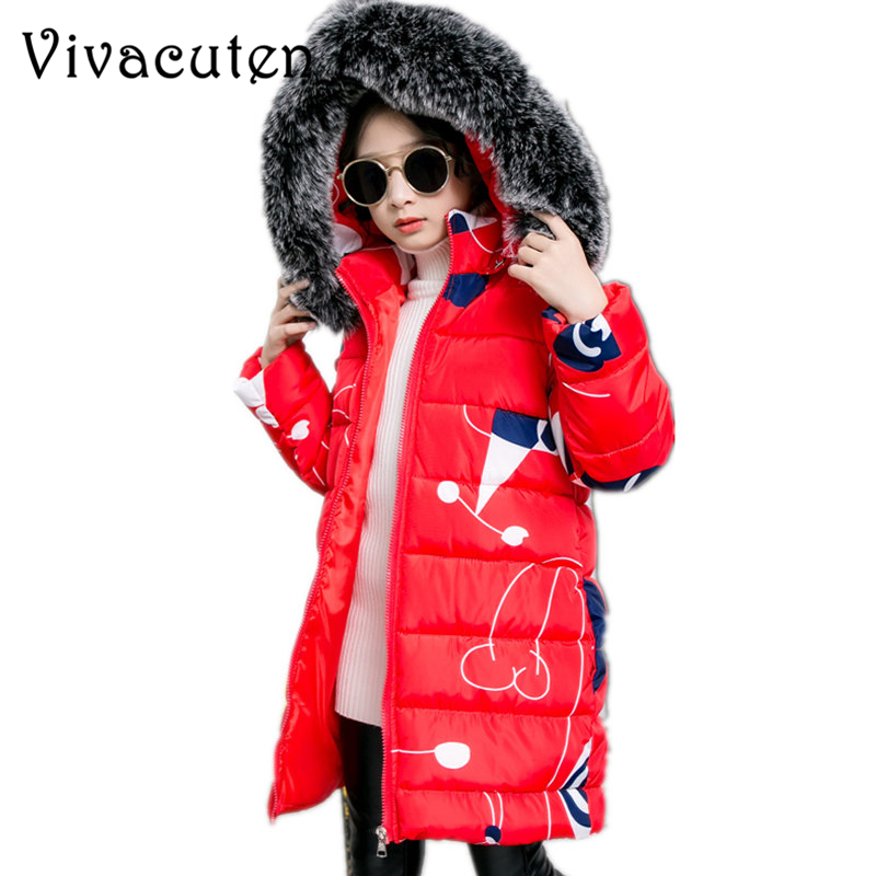 2018 Winter Children Jacket For Girls Coat Kids Hooded Warm Thick Fur Collar Cotton Parka Outwear New School Snow Long Overcoat 2015 winter new women medium long 8 colors l 4xl hooded wadded outwear coat fur collar thick warm cotton jacket parkas lj2992