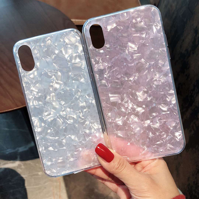 Tfshining Lovely Glitter Conch Pattern Phone Case For iPhone XS Max X XR 6 6s 7 8 Plus Fashion Soft Shell Protective Case Cover (1)