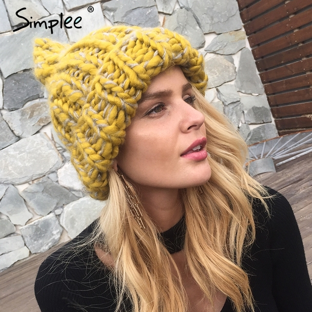 Simplee knitting wool hats 2018 pompon Bobble hats women skullies beanies  Warm hat autumn cap winter 07c9ae833071