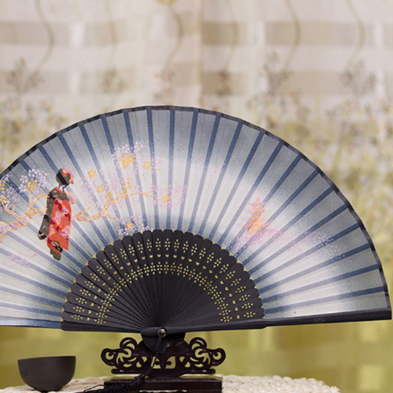 Chinese Style Silk Female Fan Folding Japanese Style And High-end Gift Bamboo Fan Bone Dance Performance Butterfly Cherry Fan