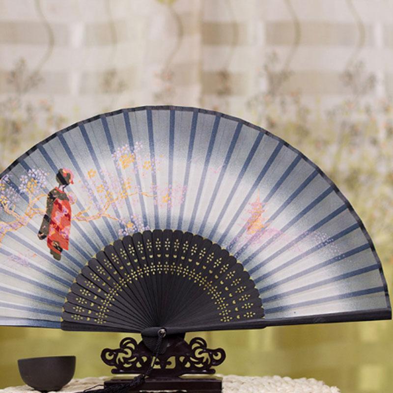 Chinese Style Silk Female Fan Folding Japanese Style And High-end Gift Bamboo Fan Bone Dance Performance Butterfly Cherry Fan