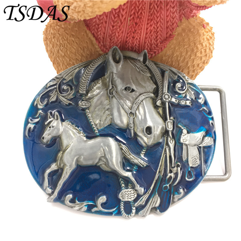 Free Shipping Cowboys Belt Buckle Metal Fashion 3D Blue Horse Luxury Mens Designer Belt Buckles font