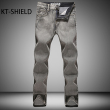 Зима свободные Мужские джинсы бренда Случайные большой размер Байкер Джинсовые длинные брюки мужские Эластичные Прямые грузовые Гарем брюки Вакеро Hombre