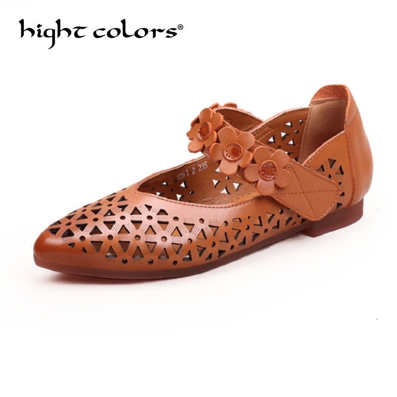 2018 Genuine Leather Flat Shoes Pointed Toe Hole Shoes Woman Loafers Cowhide Spring Casual Shoes Women Flats Soft Shoes cresfimix women cute spring summer slip on flat shoes with pearl female casual street flats lady fashion pointed toe shoes