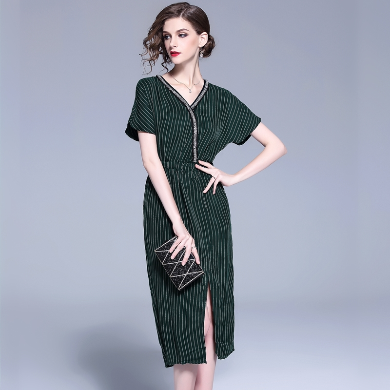 Detail Feedback Questions about New Women dressading Striped Slim V Neck  Elastic Waist Copper Ammonia Silk Eldest Dresses Dark Green 127 on  Aliexpress.com ... a1a66a2cc