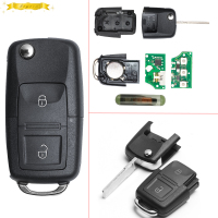 KEYECU 2 Button Remote Car Key with Blank Blade +ID48 CHIP 1J0 959 753 AG For Skoda VW VOLKSWAGEN Seat 434MHz