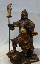 JP S0524 11″ Chinese Bronze Feng Shui Folk knife Guan Gong Yu Warrior God knight Statue B0403