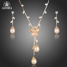 AZORA Plateó la Perla De Imitación de calidad Superior Cubic Zirconia Pendientes y Collar de La Joyería TG0138