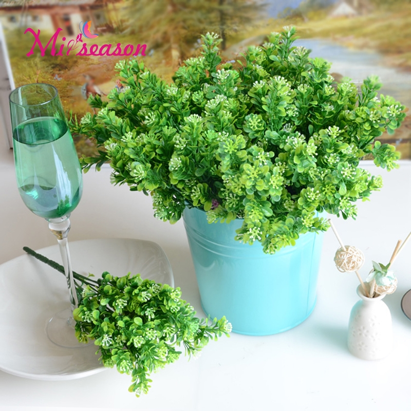 7 Branch/Bouquet Silk Fake Green Plant Fake Milan Artificial Grass With Leaf Setting Wedding Wall Decoration Flower Accessories