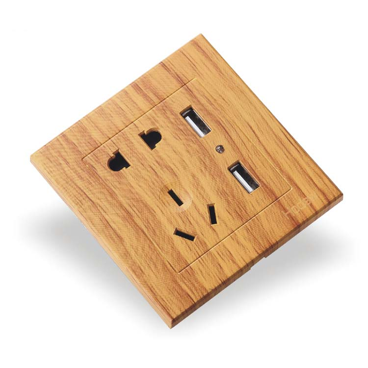 Luxury Yellow Wood Pattern 86 Type Wall Switch Two Or Three Inserted Five Holes With Dual UsB2 4A Socket AC 110 250V in Electrical Sockets from Home Improvement