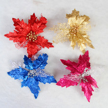 5Pcs  Bling Christmas Tree  Decoration Flower Artificial Fashion Fabric Flowers Party  New Year Christmas Decorations for Home