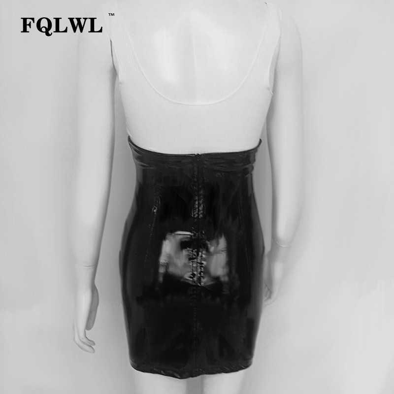 Fqlwl Sexy Hoge Taille Pu Lederen Rok Vrouwen Pvc Zwart Bodycon Latex Mini Rok Herfst Casual Streetwear Korte Potlood Rokken