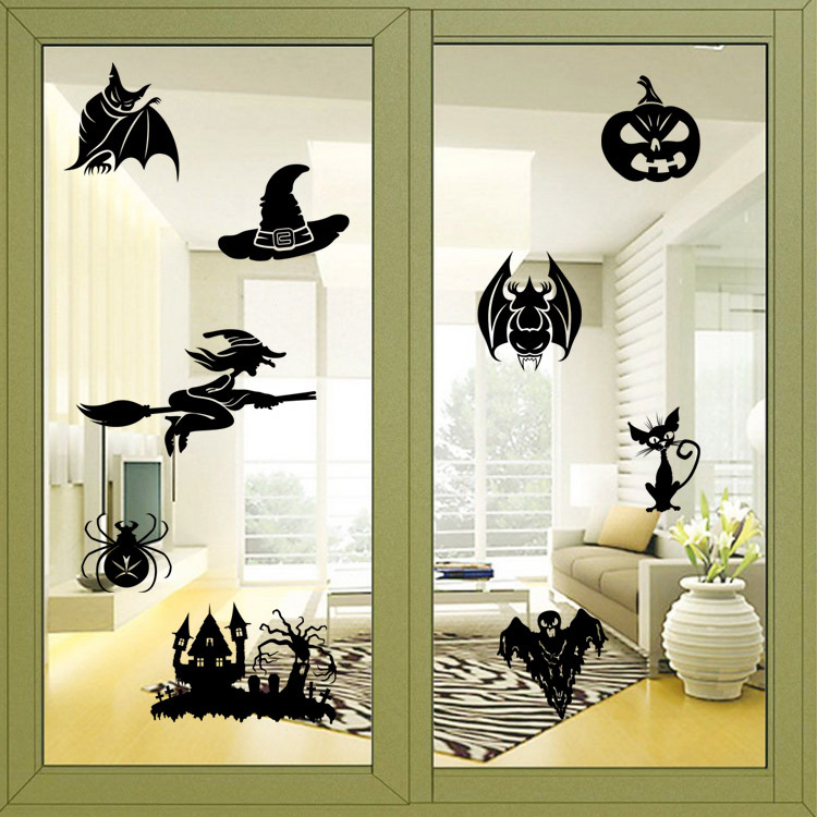 aliexpresscom buy creative witch ghosts bat pumpkin decal halloween wall sticker bedroom decoration halloween window stickers from reliable halloween - Halloween Window Decals
