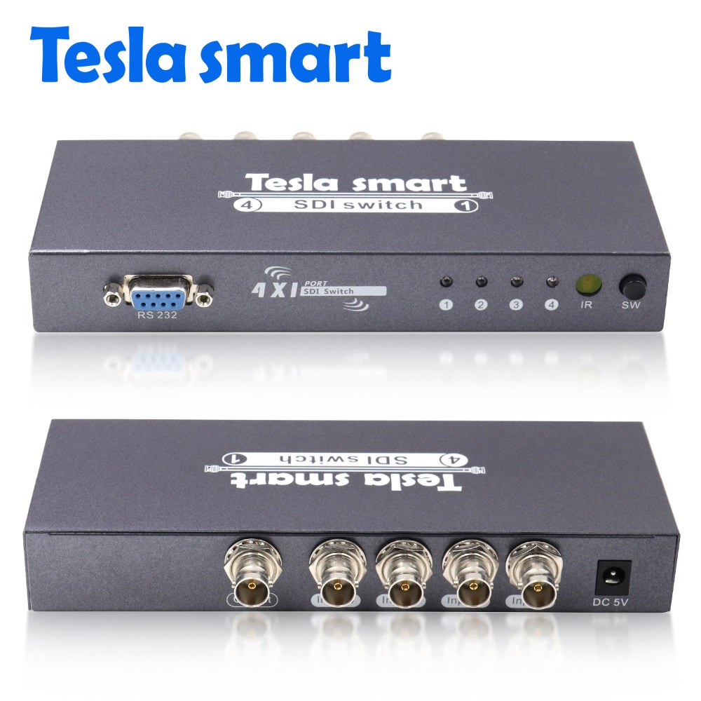 Tesla Smart 4 In 1 Out SDI Switch 4x1 BNC Switch IR Remote RS232 Port Support 1080P