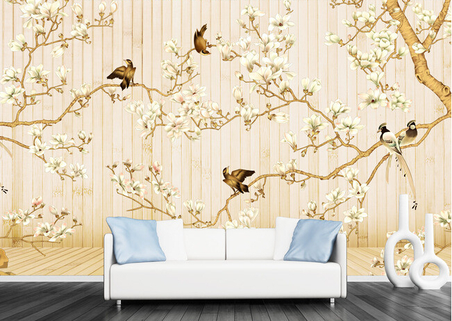 Custom photo wallpaper, painted flowers and birds painting wood for the living room bedroom TV background wall vinyl wallpaper anchor and birds save the date magnets with card laser cut and etched on wood