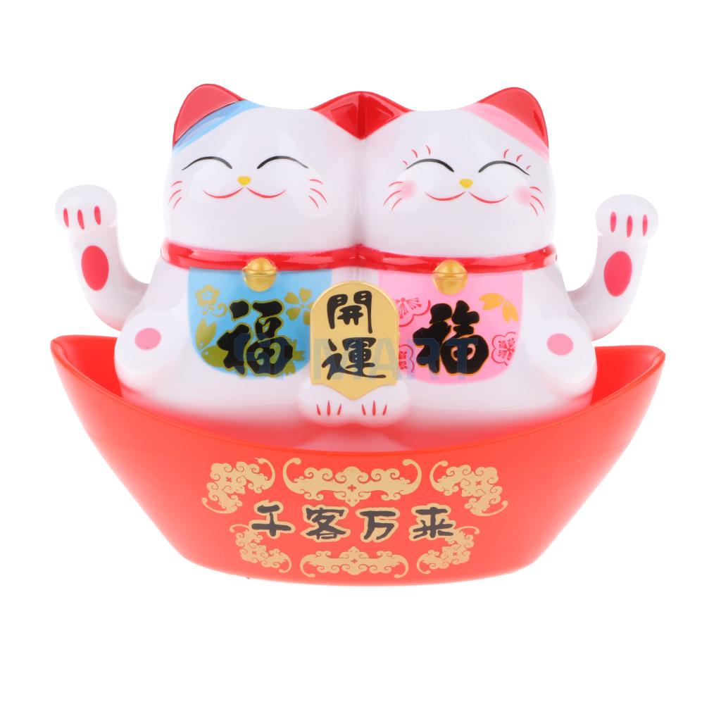 Maneki Neko Twin Animal Model Kids Children Shaking Hands Figure Toy Solar Lucky Cat Car Ornament Home Decor Friends Gift
