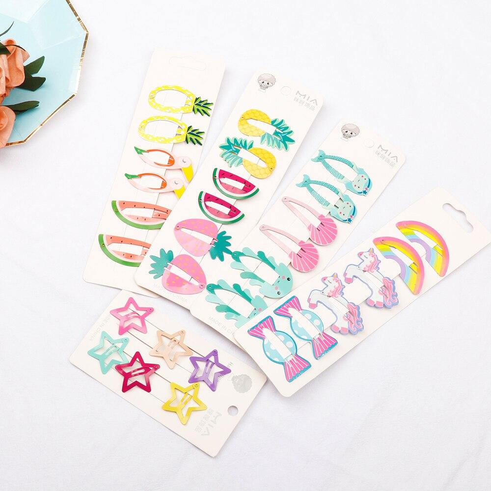 6Pcs-Set-Unicorn-Hair-Accessories-Fruit-Pineapple-Hairpins-Children-Paint-BB-Clip-Girls-Cute-Cartoon-Rainbow