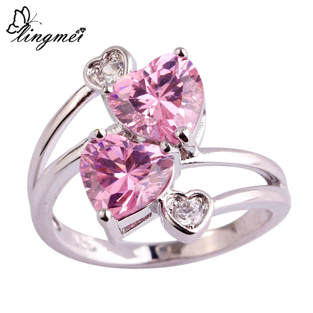 Hainon Pink Flower Adjustable Rings for Women Silver Color Big Ring ...