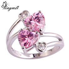 lingmei Fashion Classic Loving Heart Pink & White CZ Silver Color Ring Size 6 7 8 9 10 Beautiful Women Jewelry Party Wholesale