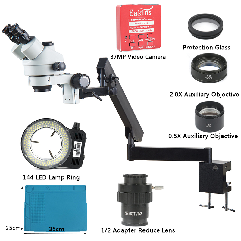US $415.99 20% OFF|3.5X 90X Articulating Arm Pillar Clamp Zoom Simul Focal Industrial Trinocular Stereo Microscope + 37MP 1080P HDMI Video Camera-in Microscopes from Tools on Aliexpress.com | Alibaba Group