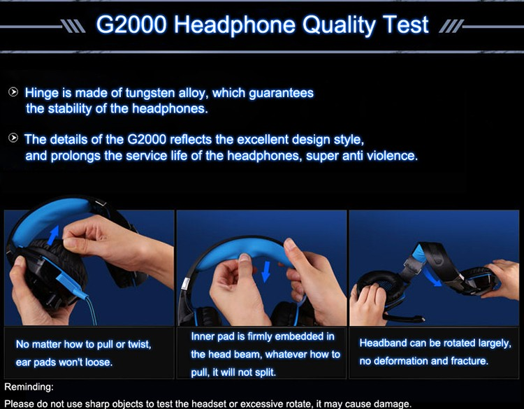EACH G2000 Over-ear Gaming Headphone Headset Earphone With Mic Stereo Surrounded Bass LED Light For PC Game (4)