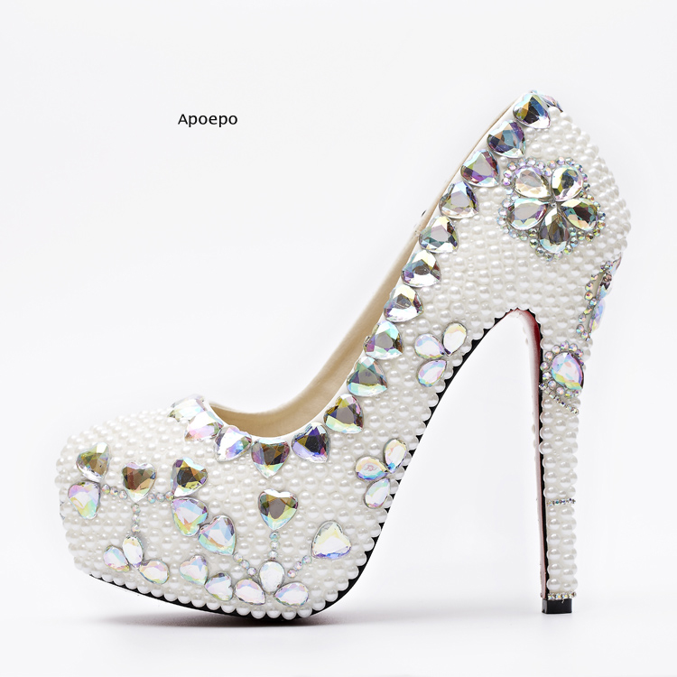 Apoepo Cheap Price High Heel Shoes For Woman Bling Bling Crystal Embellished Wedding Heels Love Heart Rhinestones Platform Pumps apoepo handmade wedding bride shoes bling bling crystal pregnant shoes 3 5 cm increased internal low heels shoes mary janes shoe