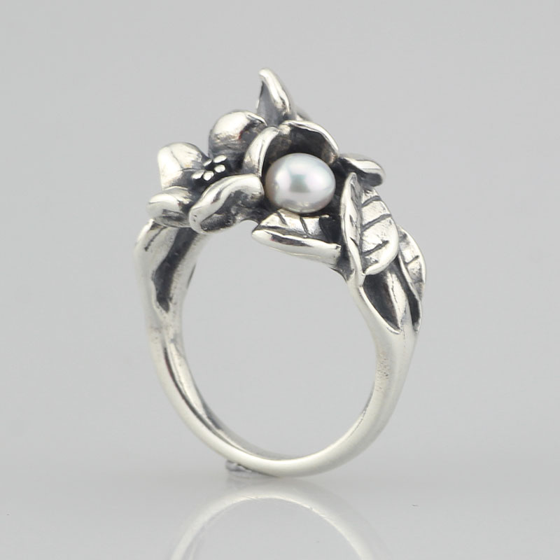 Genuine 925 Sterling Silver Hawthorn With Pearl Ring Jewelry Flowers Ring