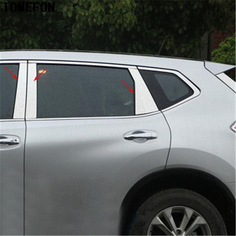 Stainless Steel Window Pillar Posts Trim 6pcs for Nissan Rogue X-Trail 2014-2018