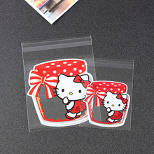 NEW 100pcs cute hello kitty Candy cookie dessert Bags Wedding Birthday Party Craft Self-adhesive Plastic Biscuit Packaging Bags(China (Mainland))