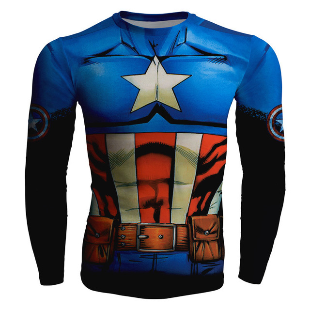 77b396497 Men Compression Shirt 3D Marvel Superhero Punisher Captain America Superman  T Shirt Fitness Tights Base Layer Shirt Casual Shirt