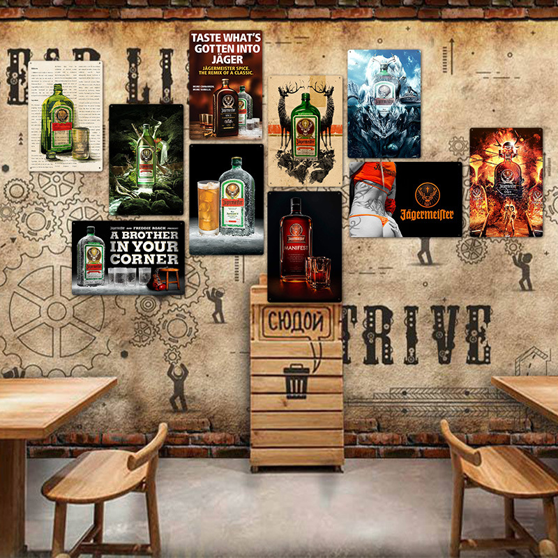 Alcohol bebida Jagermeister cabeza de ciervo cartel adhesivo mural clásico hogar Bar decoración Vintage PLACA de METAL whisky vino estaño señal Candelabro hueco de Metal, vela artesanal, luz de té, decoración del hogar, candelero marroquí, candelabro, decoración de boda