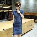 2016 горячих продажи мода женщины топы Корейский летом с коротким рукавом длинные тонкие джинсовые вскользь уменьшают все матч платье плюс размер 176B 35