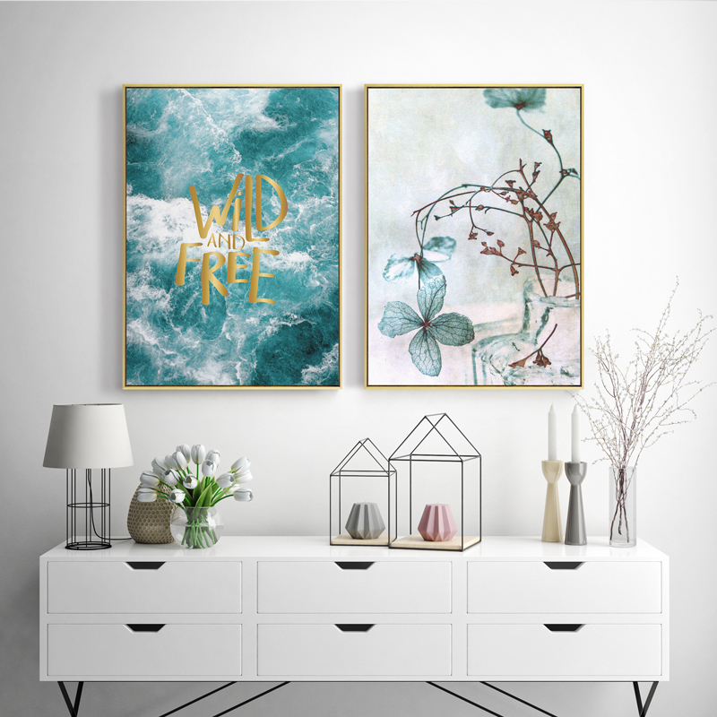 Image 4 - Seawater Ocean Wall Art Canvas Painting For Living Room Nordic Poster Letters Quotes Decoration Wall Pictures Unframed-in Painting & Calligraphy from Home & Garden