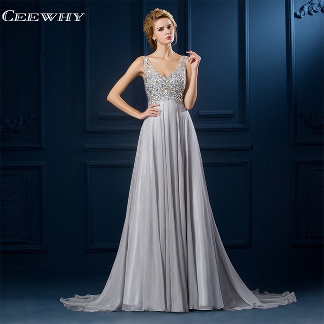 CEEWHY Chiffon Evening Dress Plus Size Evening Gowns for Women Elegant Long Party  Dress Saudi Arabia Evening Dresses Beaded ed0124ef4fbd