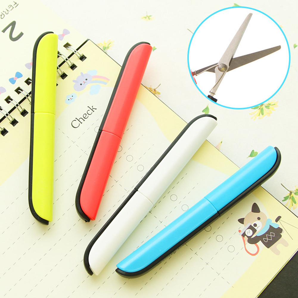 Straightforward Portable Student Safe Scissors Paper Cutting Candy Hidden Creative Design Art Office School Supply With Cap Kids Stationery Tool