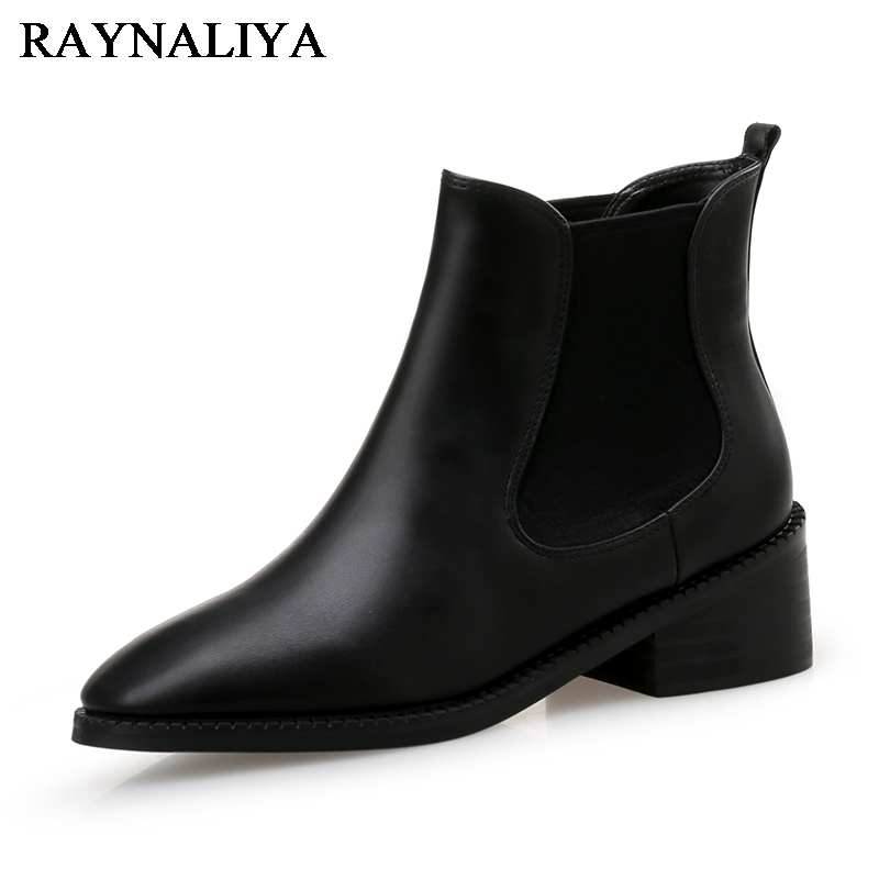 Newset 2018 Women Boots Fashion Black Meddle Heels Pointed Toe Shoes Woman Dress Office Casual Boots Big Size 34-40 CN-B0049
