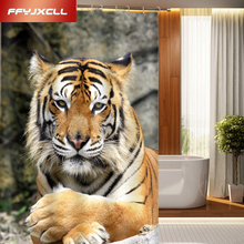 The King of Jungle Tiger Printing Polyester Shower Curtain Waterproof Mildew Home Bathroom Custom Made