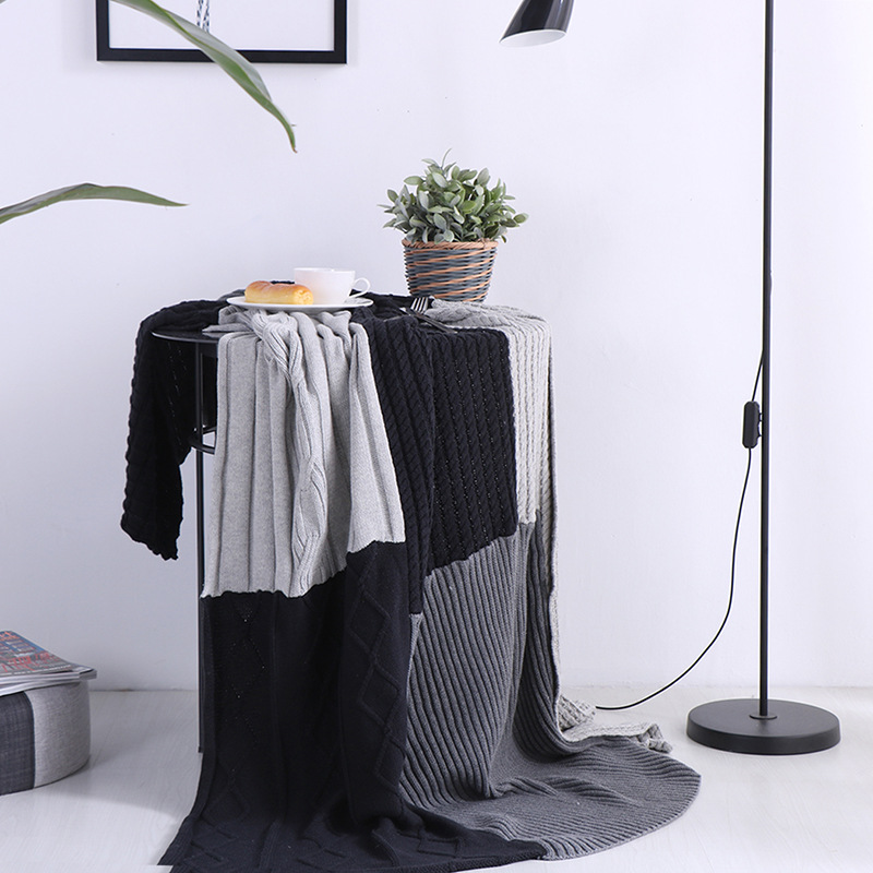 Cotton Knitting Blanket Adult Blankets Blankets Soft Throw on Sofa/Bed/Plane Travel Air Conditioning Plaids Blanket