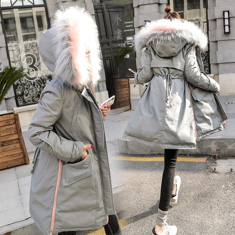 Capuchon Dames Manteau À Ouatée Parkas Mince Mode Fourrure Col Coton Z266 Long Taille Gray D'hiver white Casual De Réglable Veste Grand Femelle Lâche ArA78
