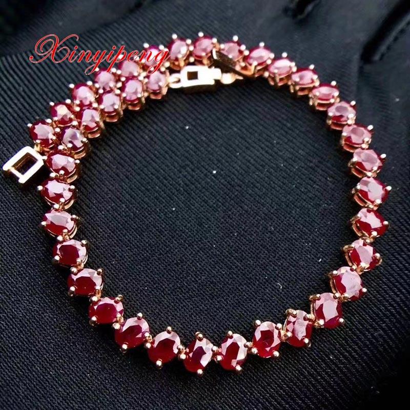 Natural Pink Ruby Gold Plated Bracelet