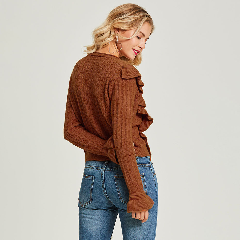 Autumn Women Knitted Cardigan V-Neck Ruffle Casual Knitwear Tops 2018 Fashion Brown Ladies Long Sleeve Street Sweaters Cardigan