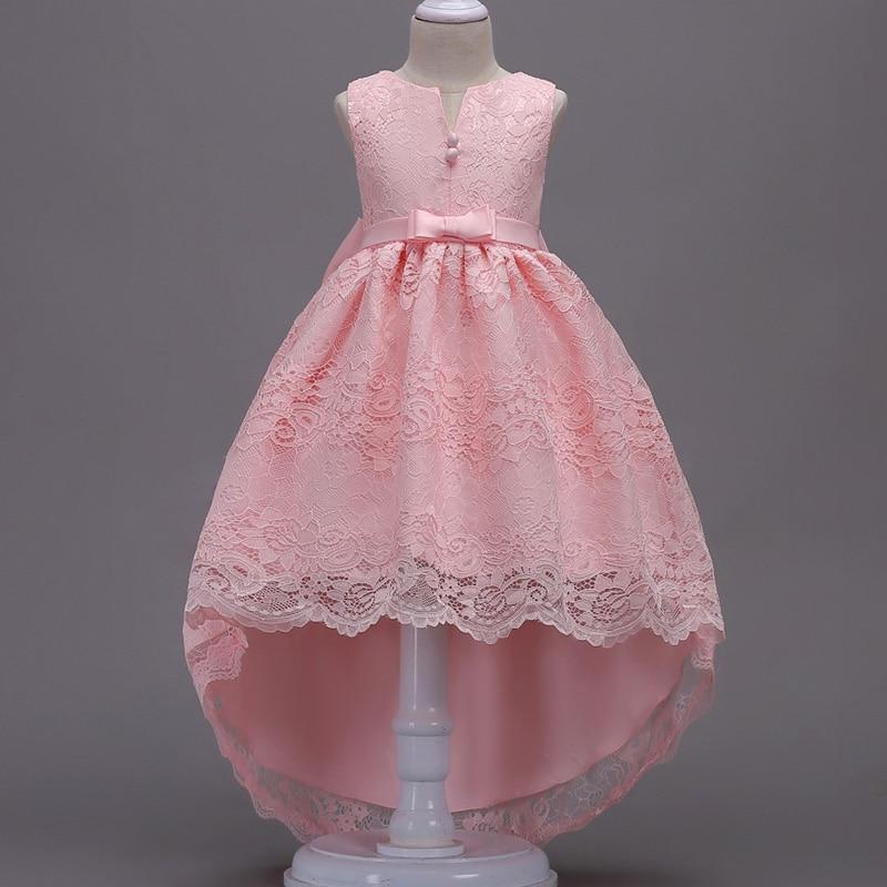 Платье с цветочным узором для девочек; Пышные свадебные вечерние платья с красным прицепом для девочек; кружевное вечернее платье принцессы для первого причастия - Цвет: pink