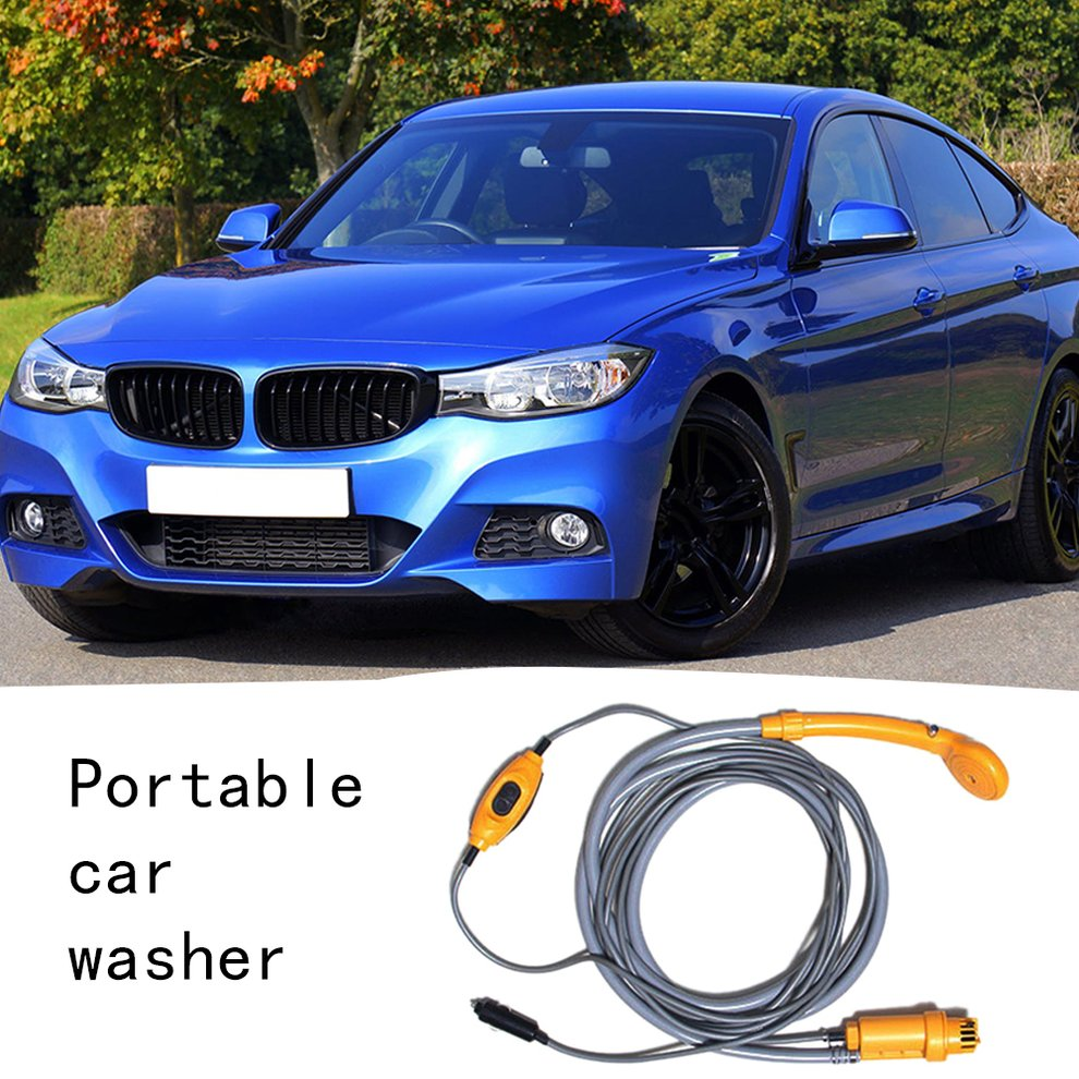 Random Color Car Washer 12V Portable Car Shower Washer Set Electric Pump Outdoor Camping Car Wash Travel Cleaning Tool(China)