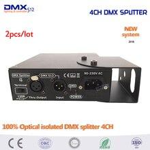 DHL Бесплатная Доставка 2 шт. этап Освещение контроллер 100% Оптический изолированный DMX Splitter 4ch DMX Splitter