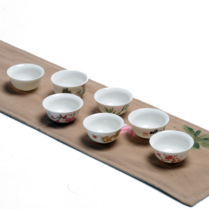 New,7 pcs Chinese Kungfu white porcelain single cups,tea ceremony,tea accessories/tools,for black tea,ripe/raw puer,Oolong,cha
